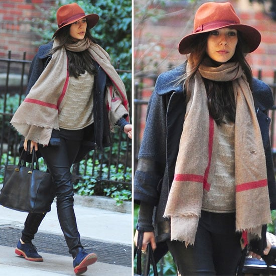 Elizabeth Olsen Wearing Orange Hat in NYC