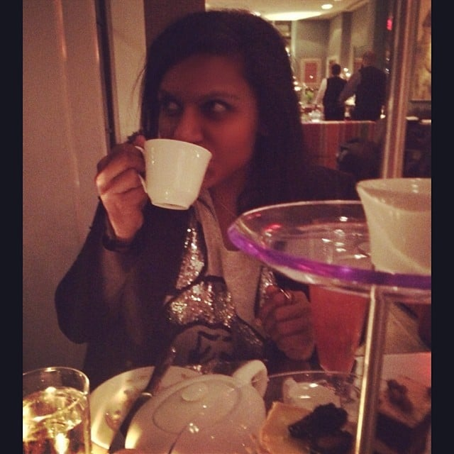 Mindy Kaling enjoyed some afternoon tea on Christmas Eve. Source: Instagram user mindykaling