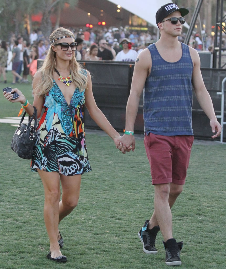 Paris Hilton and River Viiperi held hands around Coachella.