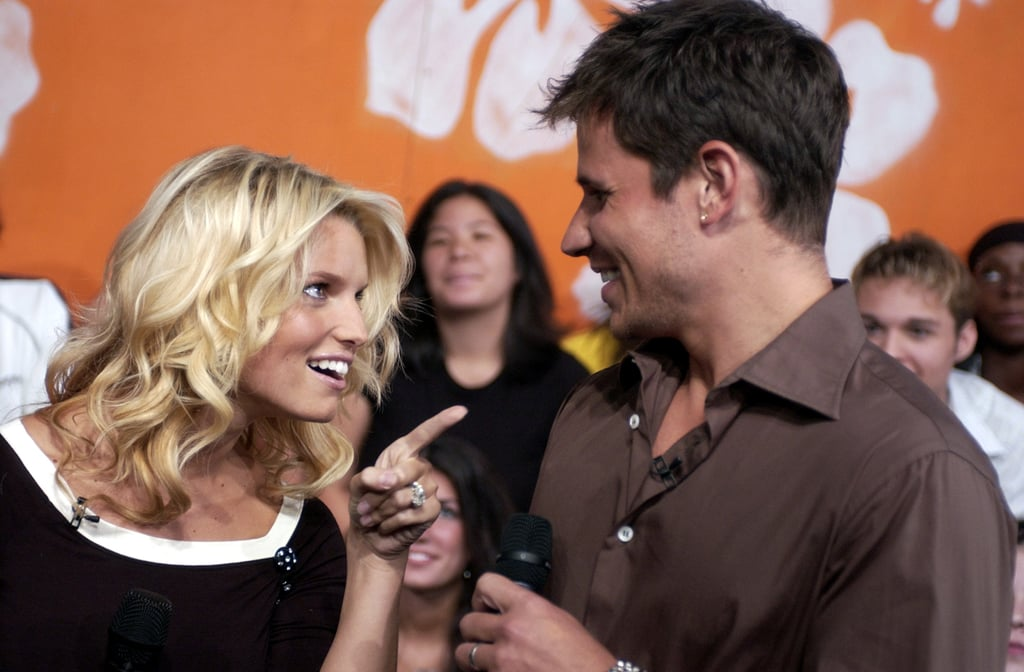 Former couple Jessica Simpson and Nick Lachey stopped by TRL to promote their reality show and perform in 2003.