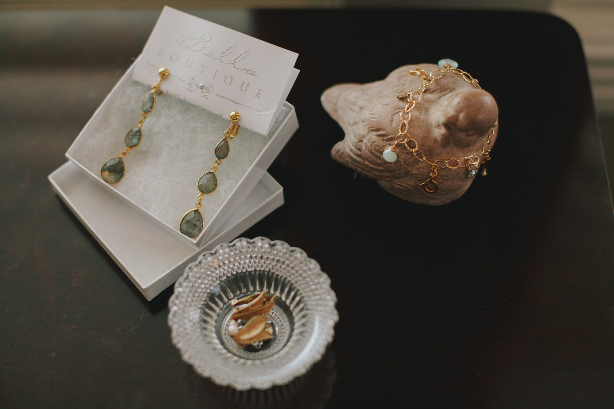 The bride and bridesmaids' jewelry was made by hand from the ladies at Bella Boutique.
