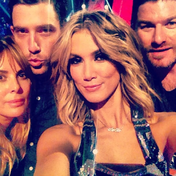 Delta Goodrem took a happy snap with her hair and makeup team backstage at The Voice. Source: Instagram user deltagoodrem