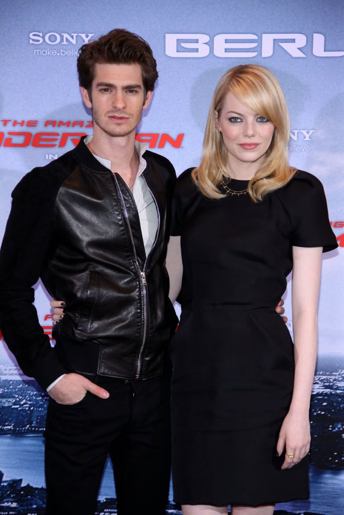 Emma Stone and Andrew Garfield both wore black to the Berlin photocall for The Amazing Spider-Man.