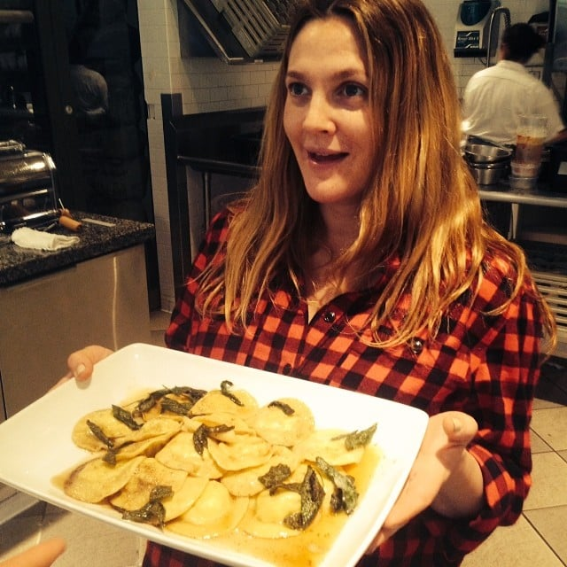 Drew showed off the ravioli she learned to make from scratch.  Source: Instagram user drewbarrymore