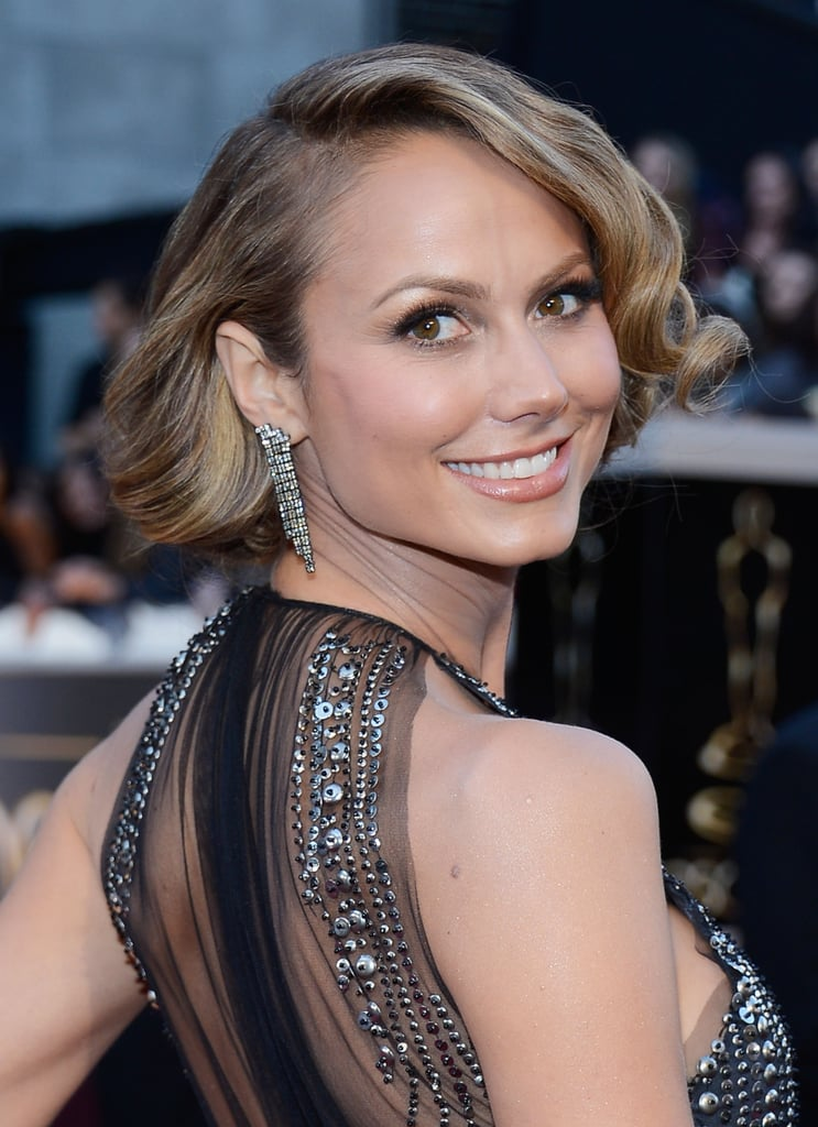 Stacy Keibler's faux bob paired perfectly with her vintage-inspired earrings.