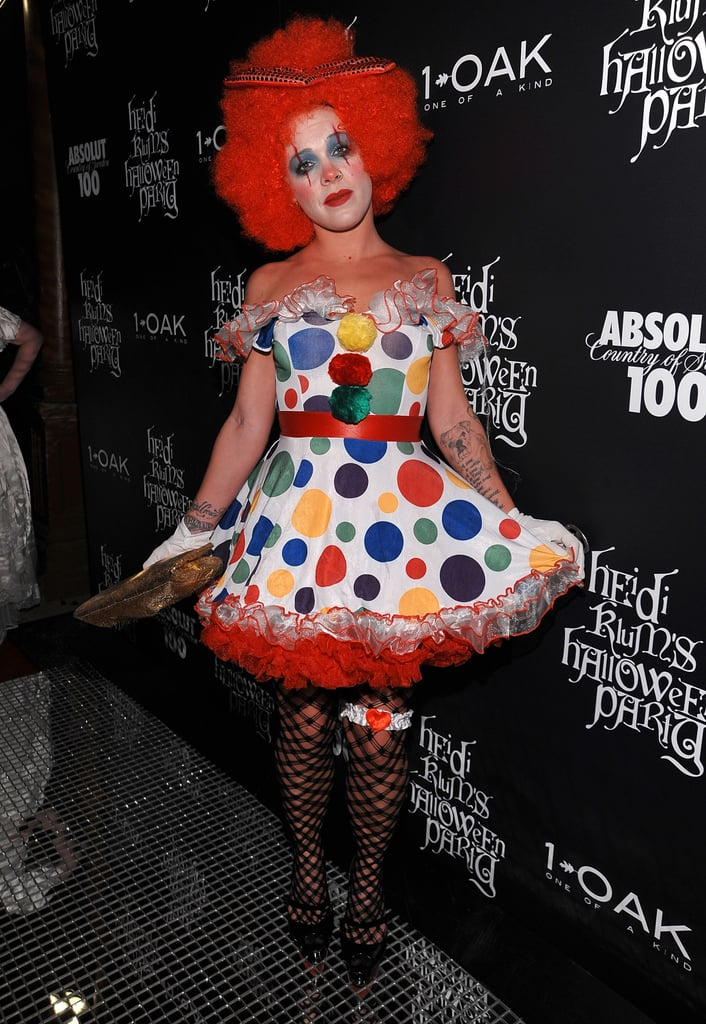 Pink was a girlie clown at a Big Apple Halloween party in 2008.