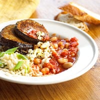 Fast & Easy Dinner: Saucy Beans and Eggplant