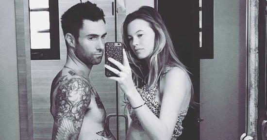 Shirtless Adam Levine Jokes He's 'Pregnant Too' Alongside Wife Behati Prinsloo — See the Seriously Cute Photo