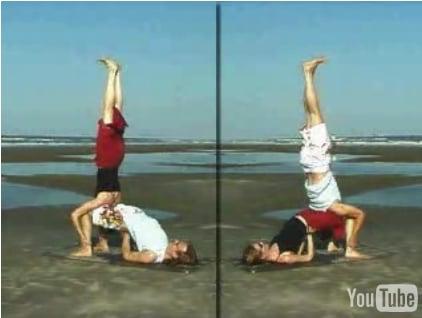 Partner Yoga Pose: Shoulderstand on Bridge