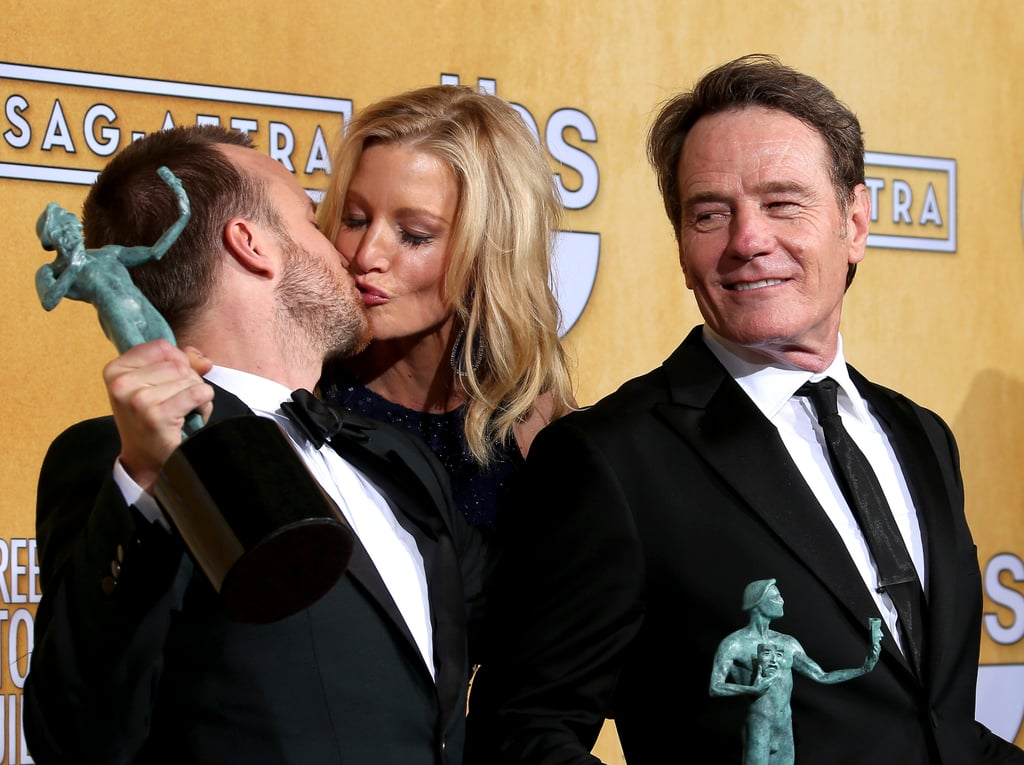 Anna Gunn and Aaron Paul celebrated their Breaking Bad win in the press room with Bryan Cranston.