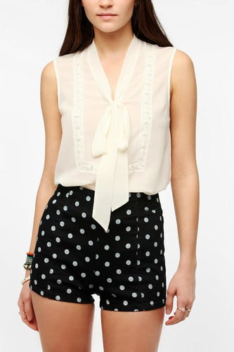 Pins And Needles Sleeveless Lace Tie-Neck Blouse