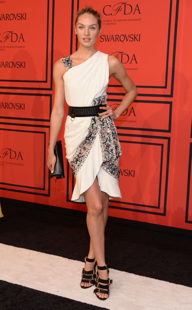 Candice Swanepoel wowed in a flirty Prabal Gurung number. Then she edged things up with black-and-gold buckled sandals.