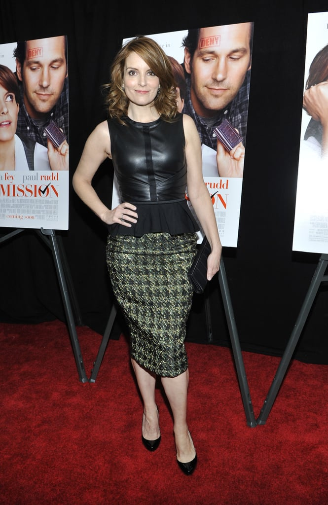 In a little leather peplum, Tina was right on trend at the premiere of Admission in NYC this year.