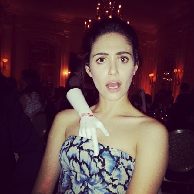 Emmy Rossum had a mannequin hand in a compromising position. Source: Instagram user emmyrossum