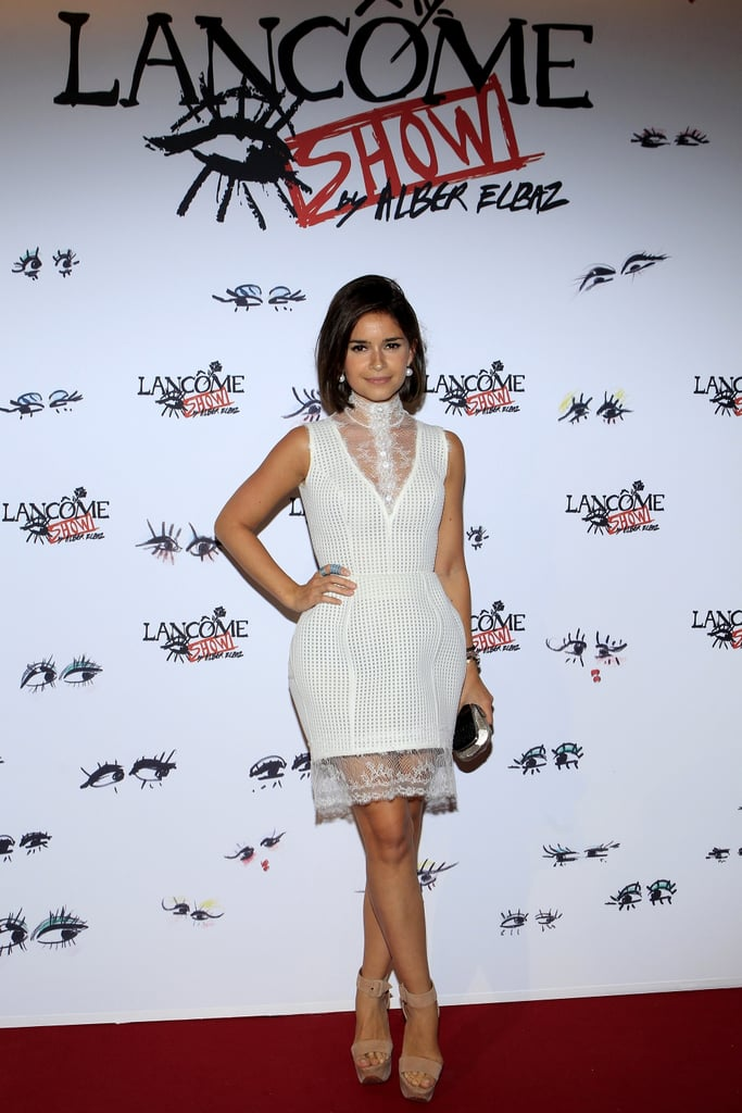 """Miroslava Duma defined """"white hot"""" while working her lacy design at the Lancome Show by Alber Elbaz party. Source:  Stéphane Feugère for Lancome"""