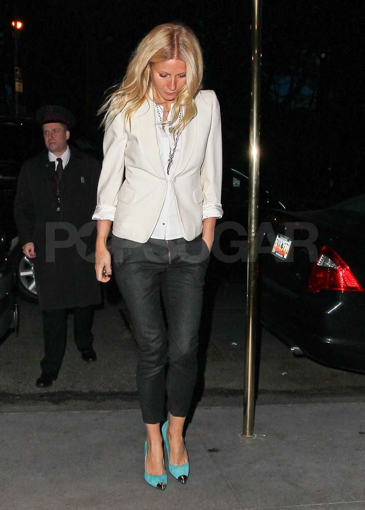 Gwyneth Paltrow paired some bright colored heels with a black-and-white ensemble while out in NYC.