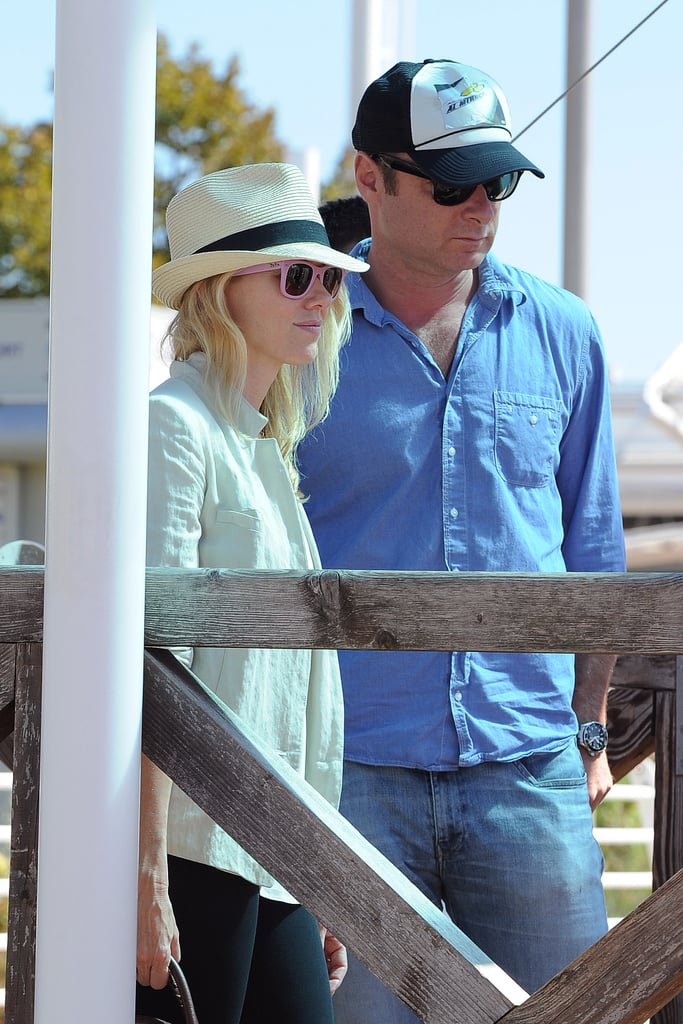 Naomi Watts and Liev Schreiber hung out together while waiting to get onto a boat in Venice.