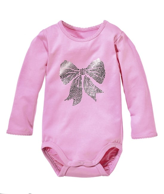 Your infant may not be headed to the classroom quite yet, but we think that this sweet metallic bow onesie would be a great baby wardrobe upgrade!