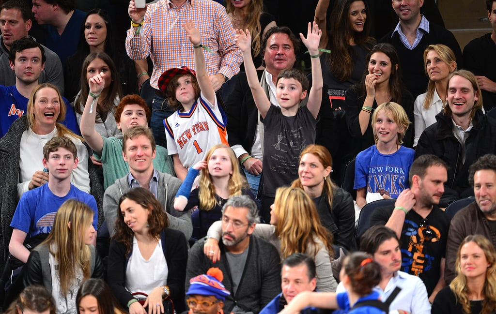 Can you spot Uma Thurman in this sweet shot of the famous mom and her enthusiastic kids at a Knicks game in January?