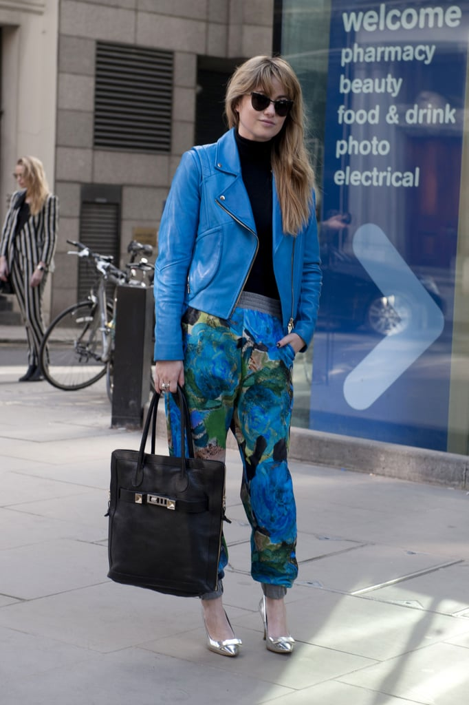 Bold blue hues on this show-goer's jacket and Christoper Kane printed pants made this look a can't-miss standout.