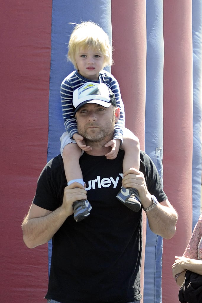 Liev Schreiber gave his son Kai Schreiber a lift at the farmers market in Brentwood.