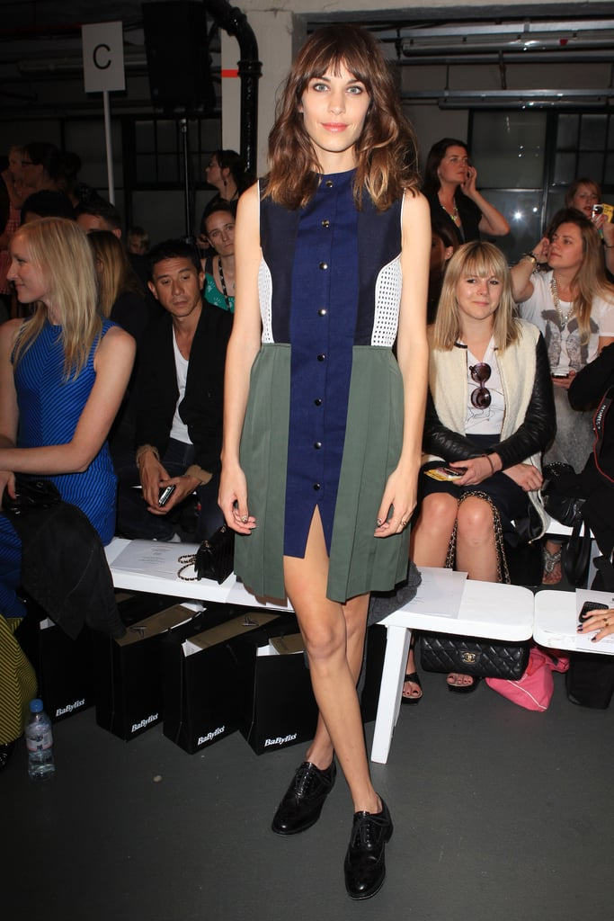 Alexa Chung opted for a colorblocked look at House of Holland.