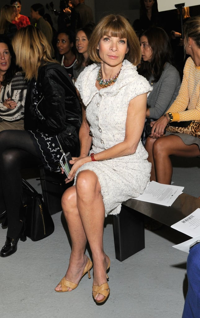 Anna WIntour wore white with a colorful necklace.