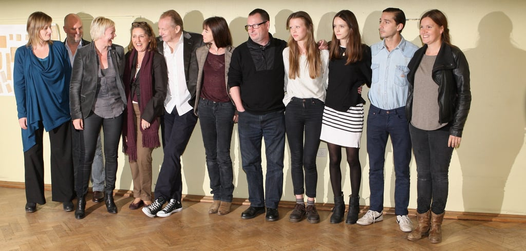 Bettina Brokemper, Bert Hamelinck, Marianne Slot, Petra Mueller, Stellan Skarsgard, Charlotte Gainsbourg, Lars von Trier, Mia Goth, Stacy Martin, Shia LaBeouf, and Louise Vesth attended the Nymphomaniac photocall.