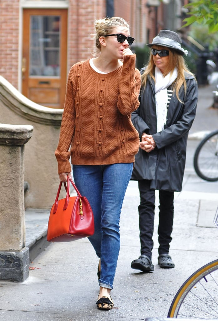 Sienna Miller Brunches With Baby Marlowe in the Big Apple