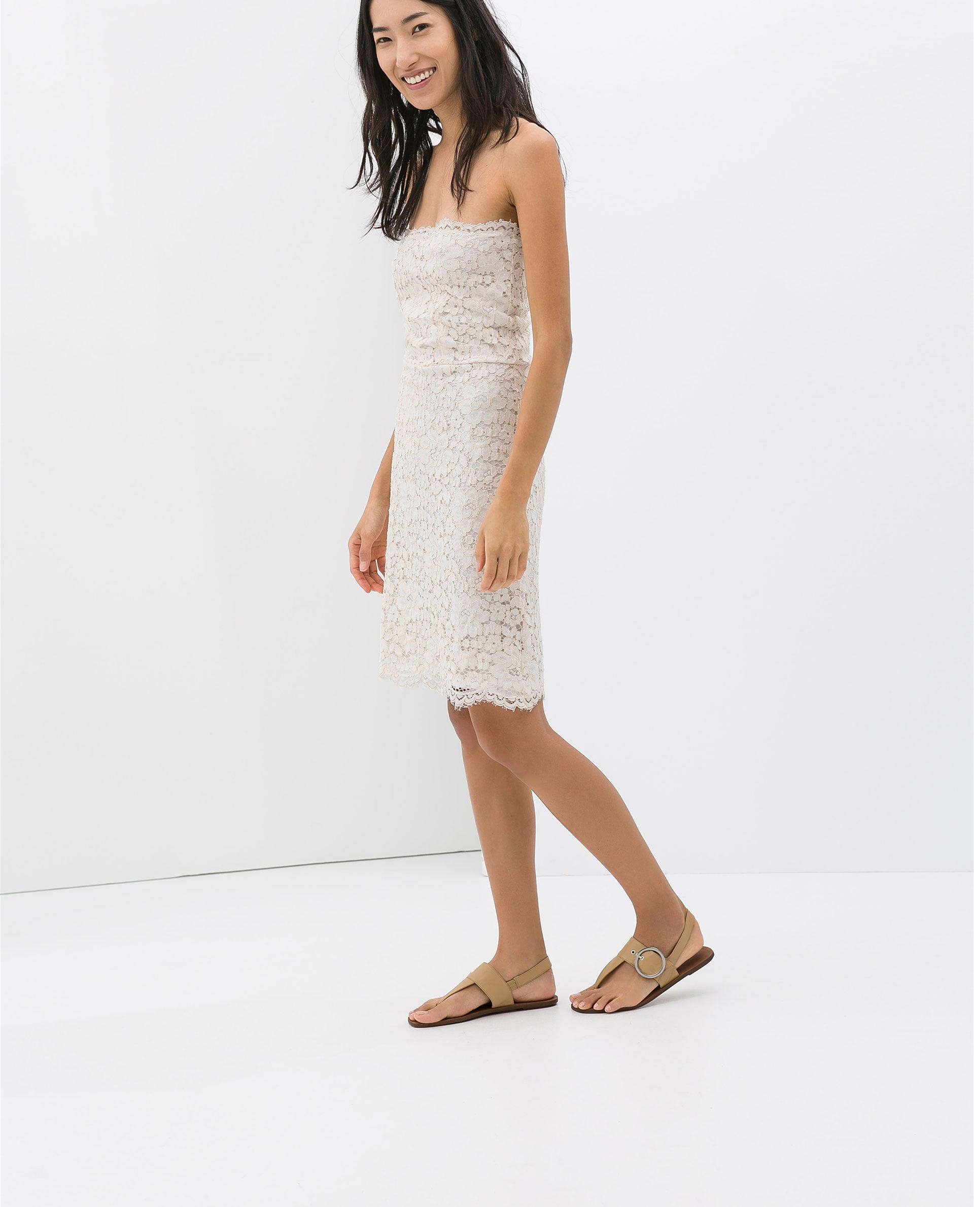 Zara White Lace Strapless Dress