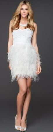 Engagement party at the Plaza? This feather-skirted cocktail length gown would be perfect for any ultraglam bridal occasion — even a perfectly flirty option to hit the dance floor at your reception.  Bebe Isis Sequin Feather Dress ($198)