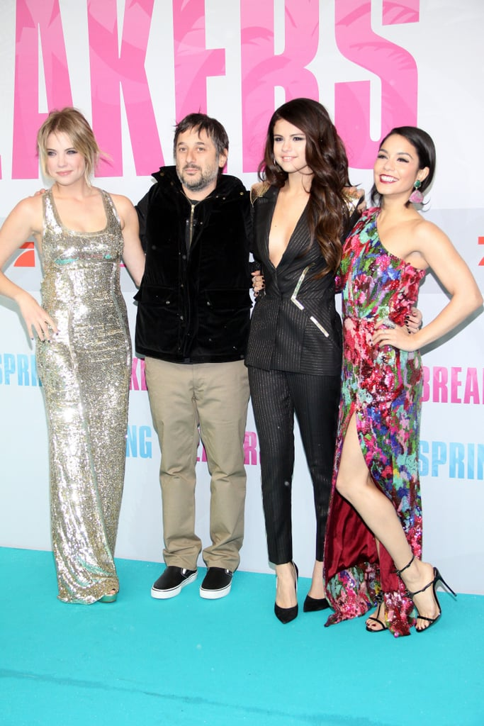 Ashley Benson, Selena Gomez, and Vanessa Hudgens posed with Harmony Korine at the Berlin premiere of Spring Breakers.