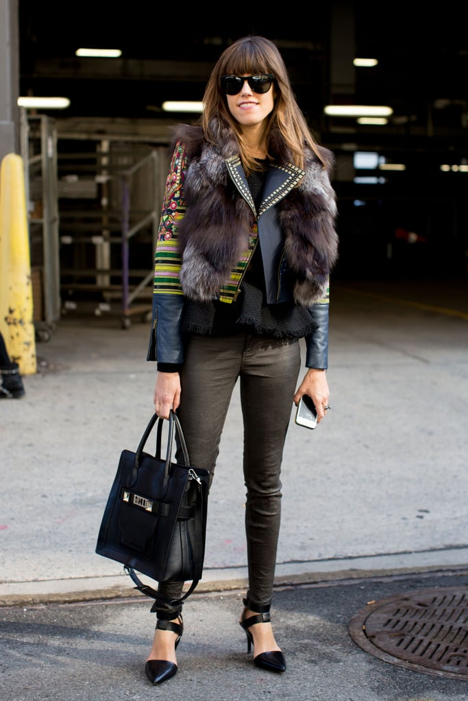 A master class on layers with fur, print, and leather.