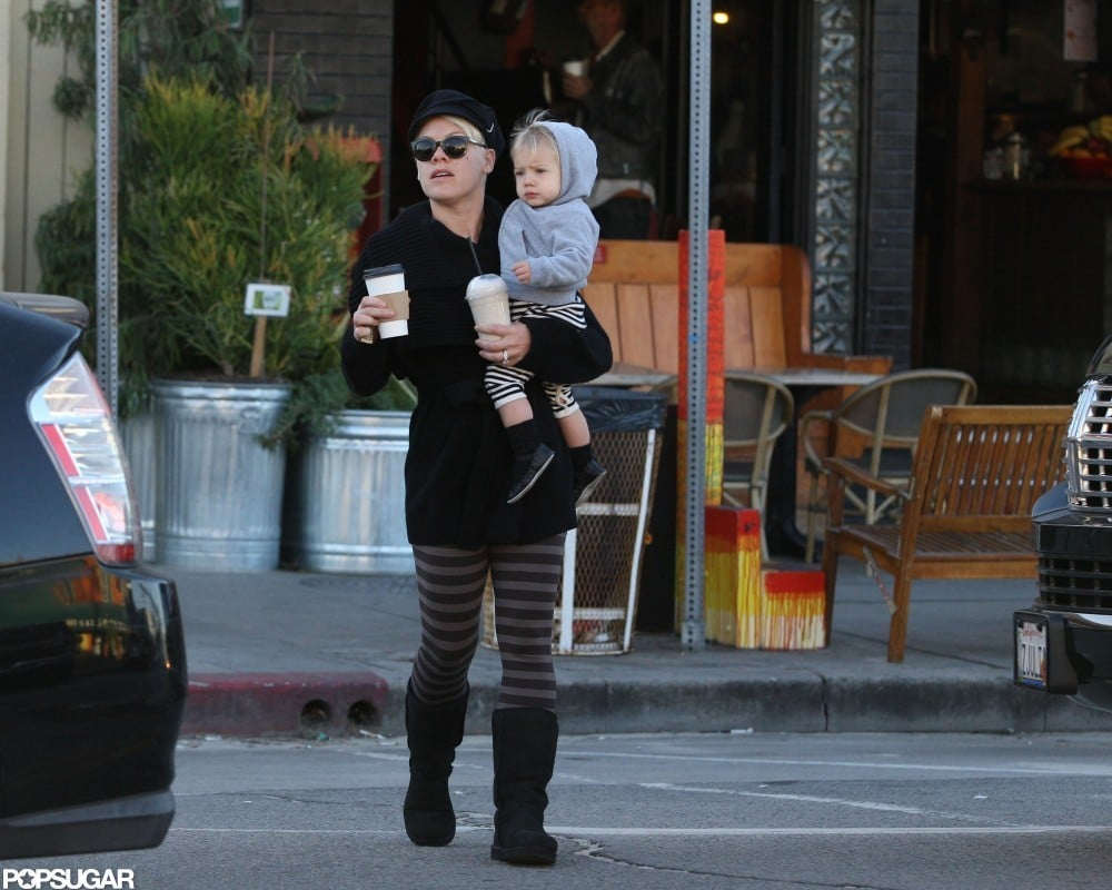 Pink carried Willow Hart in Venice Beach.