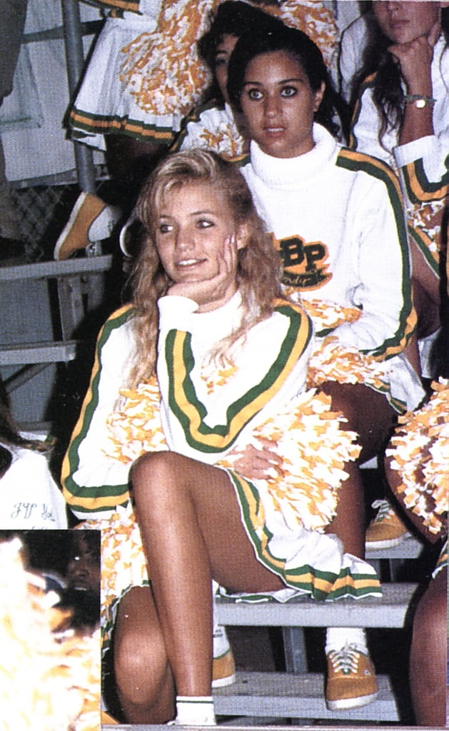 Cameron Diaz rooted for the team with pom-poms in her hand before hitting the big screen.