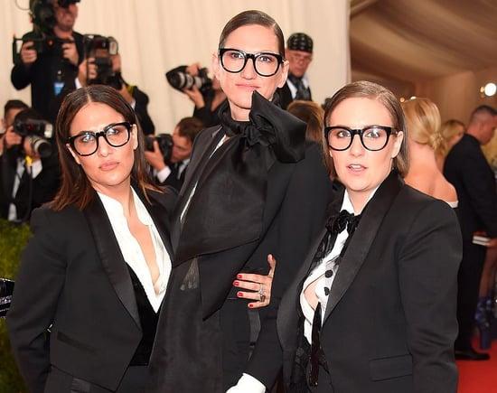 Lena Dunham, Jenni Konner, and Jenna Lyons in tuxedos at the 2016 MET Gala