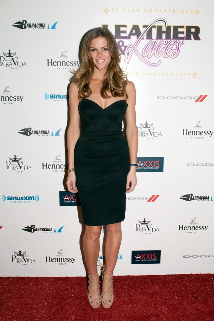 Brooklyn Decker in Strapless Little Black Dress at 2013 Super Bowl Party