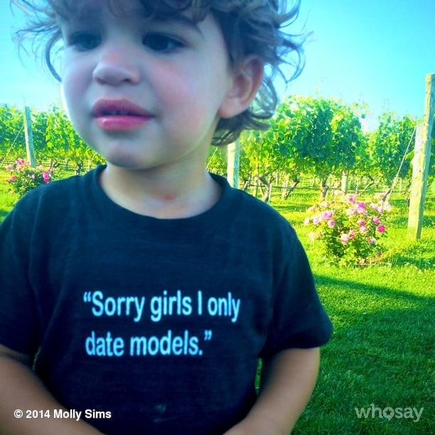 Molly Sims's son, Brooks, wore his thoughts on his chest, saying he only dates models — like his mom. Source: Instagram user mollybsims
