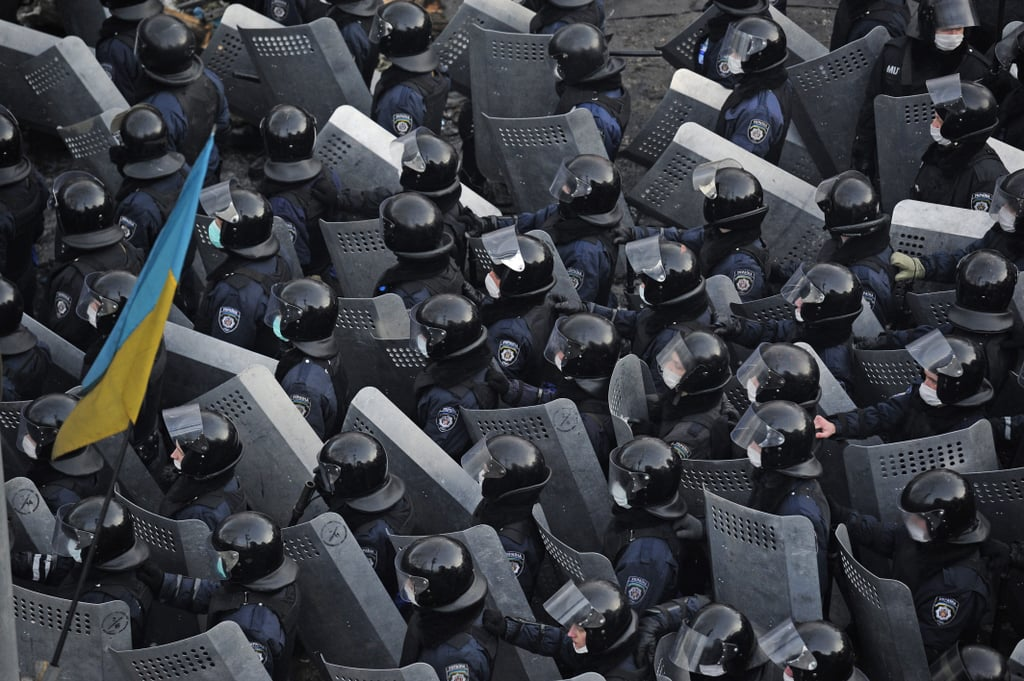 Police crowded the area in Kiev.