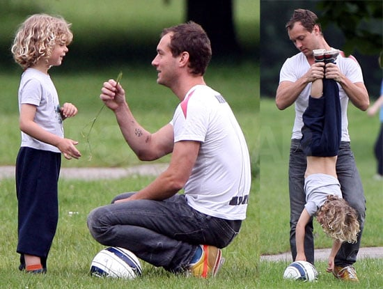 Jude Law and Rudy Law Play in a London Park