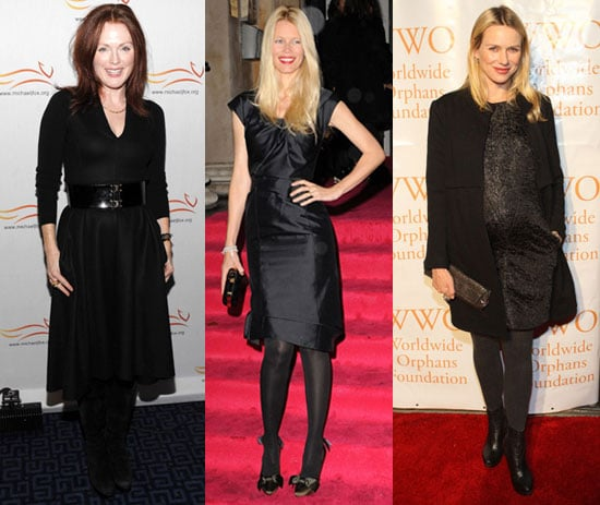 Julianne Moore, Naomi Watts, and Claudia Schiffer Wearing Black Dresses