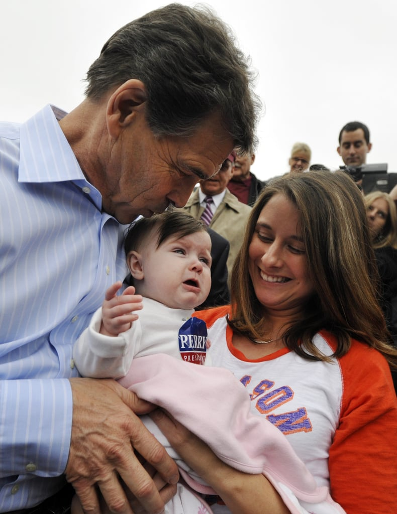Texas Governor and then-presidential candidate Rick Perry tried to calm down an unhappy 7-month-old baby at a campaign stop in Spartanburg, SC, in January.