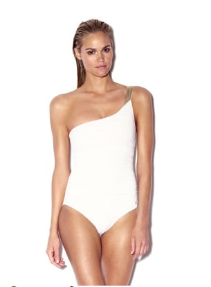 A one-shoulder maillot should be considered a bodysuit here — we think this is a perfect offset to the earthy maxi or gauzy pants.  Vince Camuto One Shoulder Malliot White ($98)