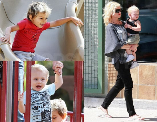 Photos of Gwen Stefani Playing With Kingston and Zuma Rossdale in LA