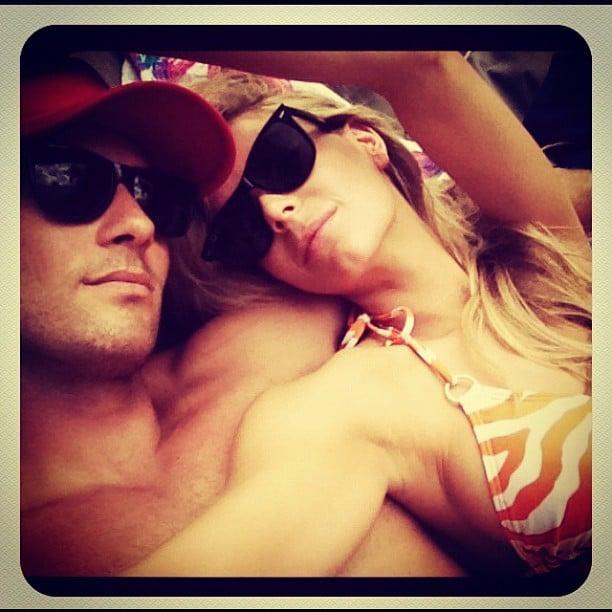 Bikini-clad Jen and Jake lounged around in December 2012.