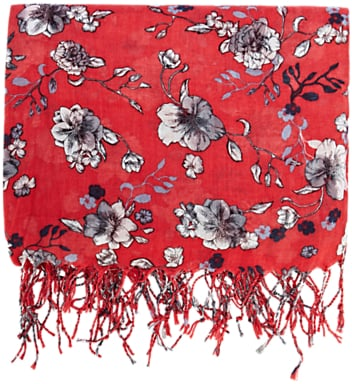 Warehouse Wallpaper Floral Scarf, Raspberry
