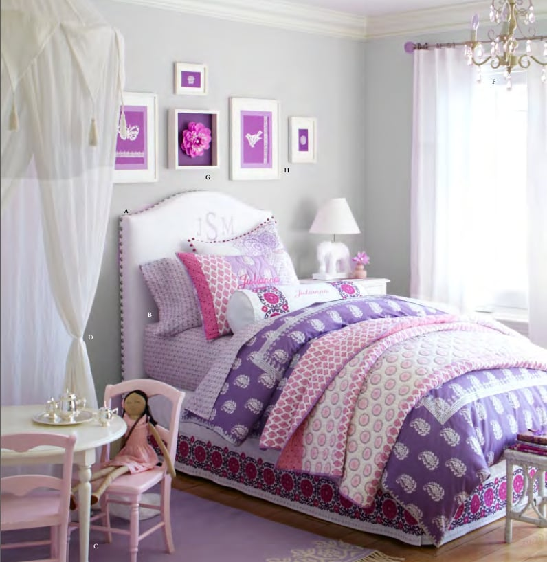 The Batik-style Brooklyn bedding collection (with sheets starting at $59, duvet cover starting at $69, and shams starting at $25) incorporates a blend of traditional leaf and mosaic patterns for lil girls' rooms. It's a far cry from traditional big-girl bedding and one that we love!