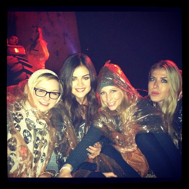 Lucy Hale and her friends wore ponchos during a trip to Splash Mountain at Disneyland. Source: Instagram user lucyhale89