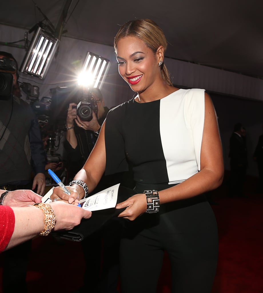 Beyoncé Brings a Black and White Jumpsuit to the Grammys
