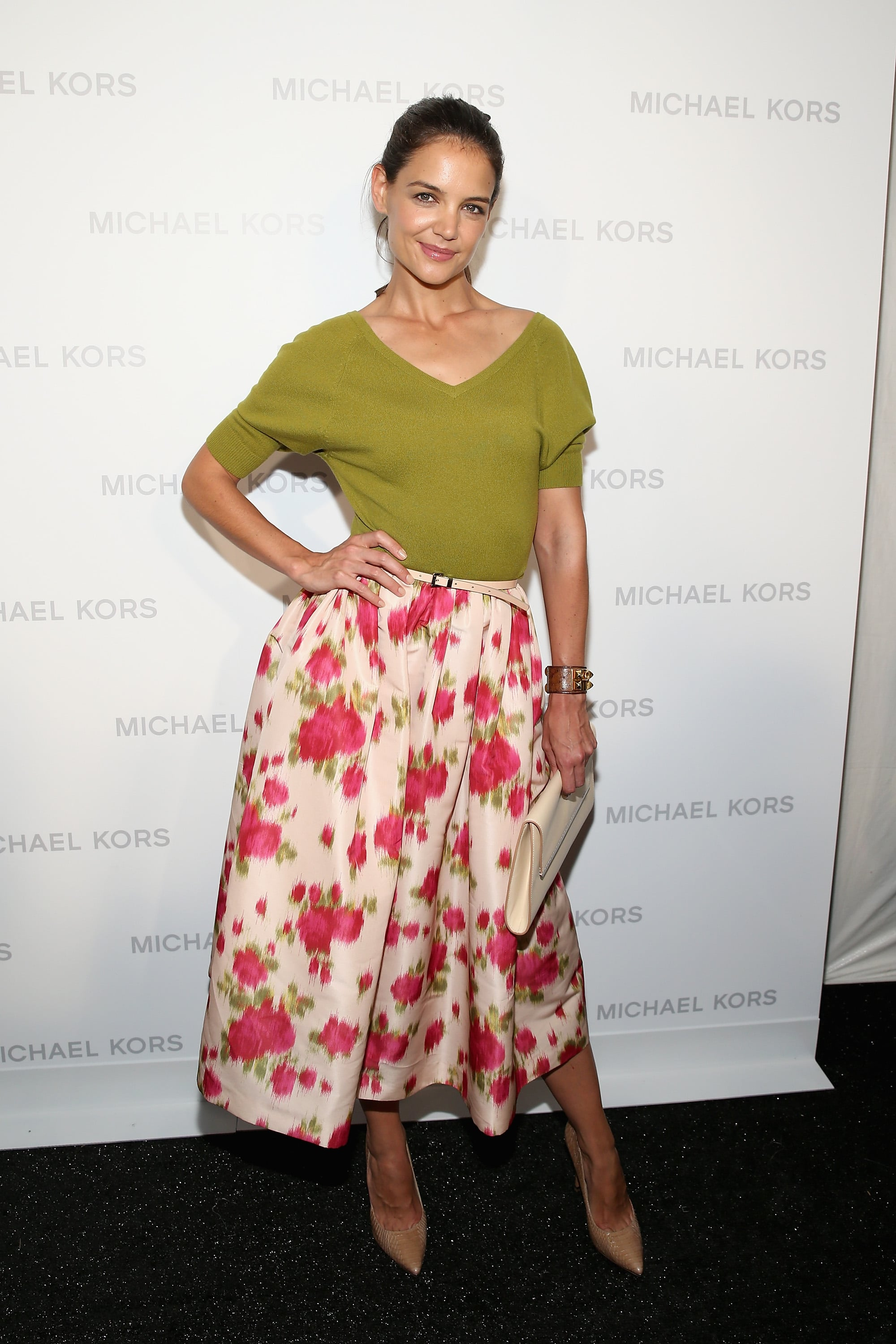 Katie Holmes wore a Michael Kors ensemble to the designer's Spring 2014 runway show on Wednesday morning.